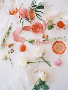 a rosé + flower arranging party #wedding