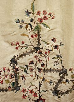 Petticoat Embroidery detail ca.1780 French silk, metallic thread, linen