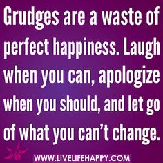 Grudges are a waste of perfect happiness. Laugh when you can, apologize when you should, and let go of what you can't change. by deeplifequo...