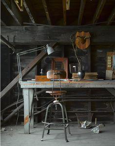 lamp, table, stool