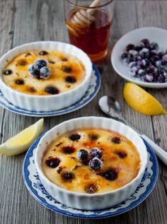 Brûléed Indian Pudding with Blueberries | Dessert For Two