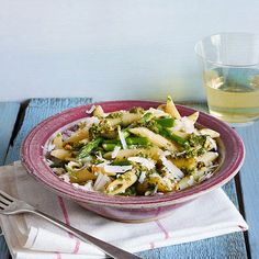 Try this Penne with Asparagus, Mint and Pistachios dinner for Meatless Monday!