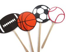 Sports Themed Cupcake Toppers  Soccer Football by MoosesCreations, $8.00