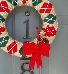 Yarn Wreath Felt Handmade Holiday Door Decoration - Classic Christmas 12in