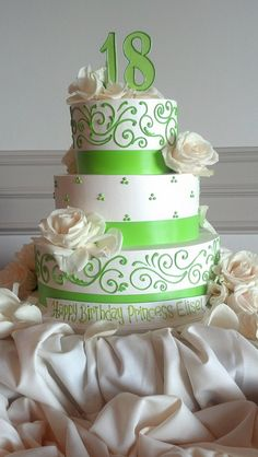 Lime green 18th birthday cake