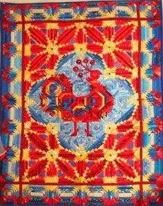 Golden cockerel  Russian patchwork, log cabin design
