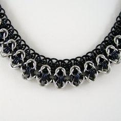 Chainmail Necklace Rondo a la Byzantine Black Silver Aluminum