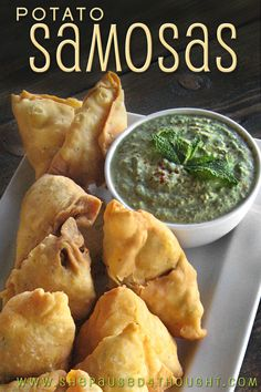 Potato Samosas with Yogurt Mint Chutney
