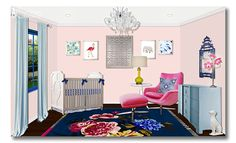 In LOVE with this stunning room from Little Crown Interiors ! Can I move in please??? {love the blue AND pink together!} via the Bébé bébé bébé Nursery series of girl nurseries/rooms at Fieldstone Hill Design