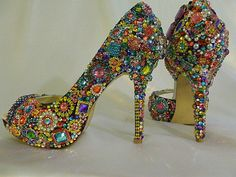 party shoes, pearl embellish, brilliant color, colored pearls, glass, parti shoe, cinderella rainbow, rainbow wedding shoes, crystal
