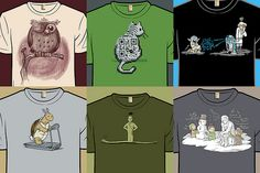 6 cute T shirts by Adam Koford