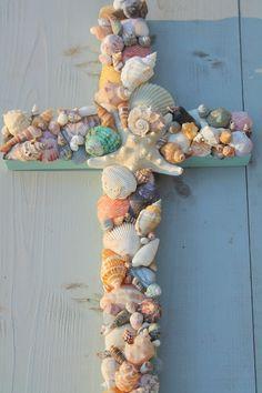 Seashell Craft Ideas | wood seashell cross by myhoneypickles reclaimed wood seashell ...