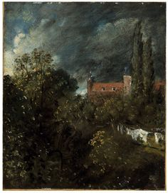 View in a Garden with a red house beyond, John  Constable, about 1821