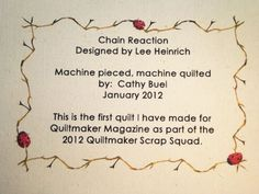 How to make quilt labels using your printer.  Interesting...