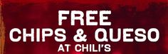 Free Chips And Queso at Chili's! Print coupon now! skillets, chips, dip, chili skillet, food, chilis, free chip, coupon, skillet queso