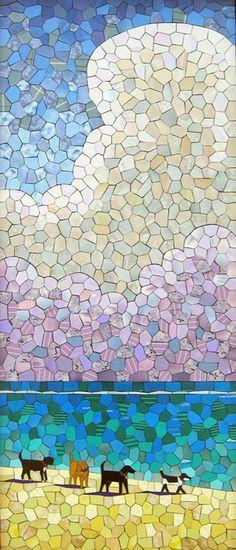 """Beach Patrol"" geometric pieces mosaic."