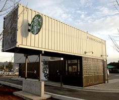 Starbucks Coffee Shop Made Out of Shipping Crates