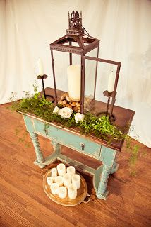 country barn wedding unity candle table