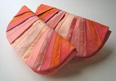 Monochromatic Coral Pleated Silk Clutch