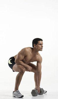 """Prepare for a beating."" Intense exercise: The Squat Thrust Single Arm Dumbbell High Pull. The Forgotten Fat-Burning Exercise, via Men's Health."