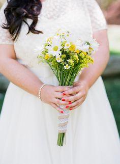 simple yellow and white bouquet,  photo by Valentina Glidden Photography http://ruffledblog.com/brookside-equestrian-wedding #weddingbouquet #flowers