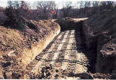Wide trench with geothermal HVAC looping