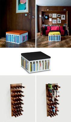 ottoman bookcase wall storage