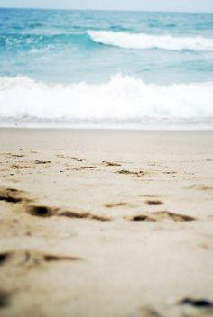 water, sandy beaches, beach waves, sky, the ocean, sea, footprint, walk, blues
