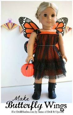 Doll Craft- Make Butterfly Wings for your Doll! — Doll Diaries butterfli wing, halloween costumes, doll diaries, making butterflies, american girl, doll craft