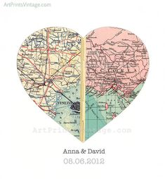 Custom Map Art Wall Decor for Engagement Gift Wedding Gift Heart Map Print - Personalized with 2 Favorite Locations - faux stitched middle