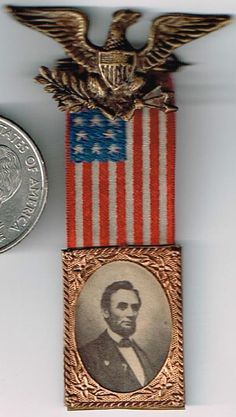 Abraham Lincoln Silk 1864 Campaign Ribbon Badge. Published/sold by Ferrotype Gallery, Philadelphia.  *s*