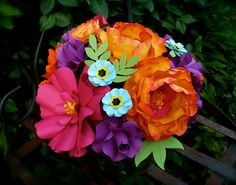 Cake Topper paper flowers -  Centerpiece -  Paper Bouquet   by DragonflyExpression
