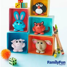 Cute Clay Animal Crafts: Make a menagerie of critters by sculpting just a few simple shapes.