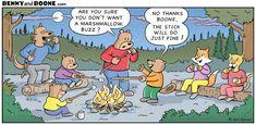 Marshmallow campfire roast with cartoon characters