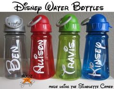 Disney water bottles.  Easy and cheap.  Just need vinyl cut with your name on it. houseofhepworths.com #disney #vinyl #silhouette #cameo # diy