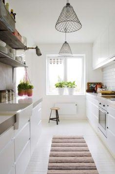 Wonderful 33 Rustic Scandinavian Kitchen Designs : 33 Rustic Scandinavian Kitchen Designs With White Kitchen Wall Sink Oven Stove Chandelier Carpet Chair Window Plant Decor Cabinet And Appliances