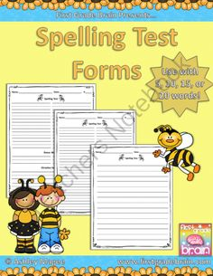 Spelling Test Forms for 5, 10, 15, or 20 words! (Free!) product from FirstGradeBrain on TeachersNotebook.com