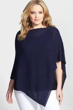 Eileen Fisher Plus Size Ribbed Linen Poncho