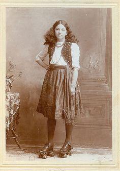 vintage girl on roller skates