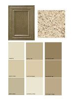 not quite brown  not quite grey Find the right colors-  Color pallets paired with various granite & cabinets