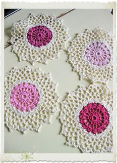 Cotton crocheted coasters with colourful heart | Flickr - Photo Sharing!