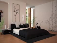 Top 12 Exotic Asian Style Bedroom Designs : Dazzling Black and White Asian Style Bedroom Design with Cute Panda Wall Decal and LowProfile Be...