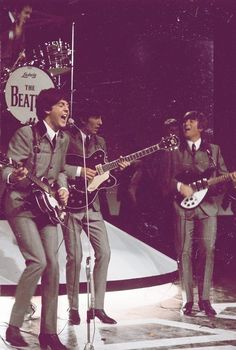 The Beatles on stage.