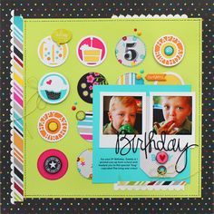 *Birthday Boy* Simple Stories/Taylored Expressions - Scrapbook.com - Use a grid of circles to include various patterns and colors in one layout.