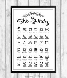 Laundry Symbols Poster - 12x18 print - Guide To Procedures, Laundry, Reference, Rules, Sign, Vintage, Decor, Art, Wall, Chalk, Chalkboard