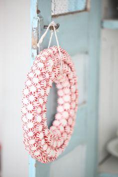 peppermint wreath so pretty