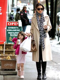 Katie Holmes with Suri. Love the scarf with the glasses & coat