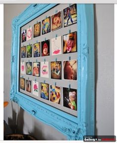 perfect Instagram photo display! decor, display photos, photo display, clothespin, big frame, craft idea, old frames, picture frames, displaying instagram photos