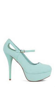 Deb Shops #Mint Round Toe Platform Pump with Mary Jane Strap and Side Cutouts $23.03