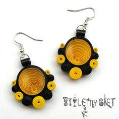 Fancy Polka Yellow Paper Quilled Earrings
